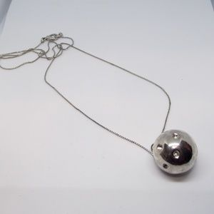 BOGO Long Silver Tone Chain with Ball Pendant